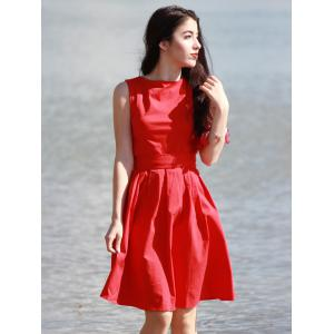 Vintage Boat Neck Sleeveless Solid Color Self-Tie Women's Dress - RED S