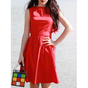 Vintage Boat Neck Sleeveless Solid Color Self-Tie Women's Dress - Red - 2xl