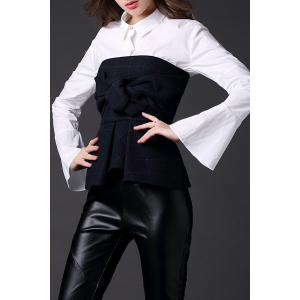 Flare Sleeve Bowknot Blouse Twinset -