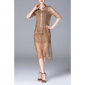 See-Through Shirt Dress and Tank Top Twinset -