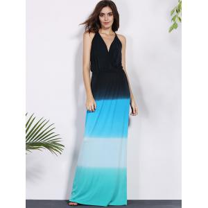 Slit Gradient Long Backless Boho Dress -
