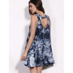 Casual Scoop Neck Floral Print Hollow Out Sleeveless Dress For Women -
