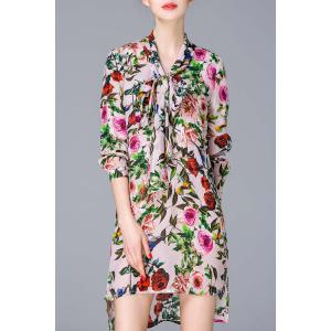 Bow Collar Floral Dress -
