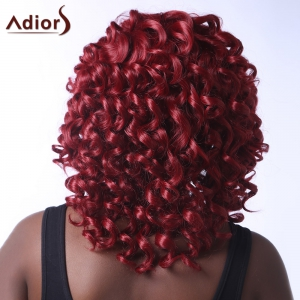 Stunning Dark Red Medium Capless Fluffy Curly Synthetic Adiors Wig For Women -