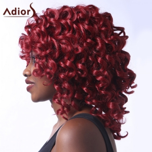 Stunning Dark Red Medium Capless Fluffy Curly Synthetic Adiors Wig For Women - DEEP RED