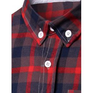 Turn-Down Collar Checked Pattern Slimming Short Sleeve Shirt For Men -