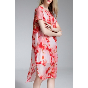 Round Collar Floral Print Irregular Dress -