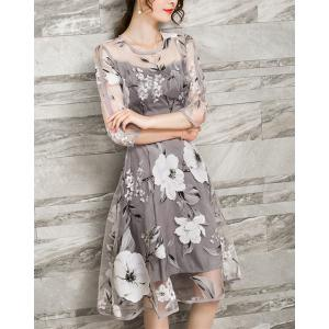 Chic Women's Voile Splicing 3/4 Sleeve Floral Print A-Ling Dress -