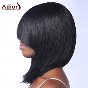 Trendy Black Medium Capless Straight Heat Resistant Synthetic Adiors Wig For Women - BLACK