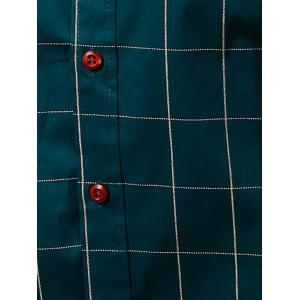 Turn-Down Collar Checked Pattern Button-Down Short Sleeve Shirt For Men -