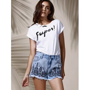 Stylish High Waist Floral Embroidered Frayed High Cut Shorts For Women - LIGHT BLUE XS