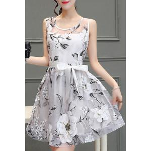 Chic Women's Voile Splicing Scoop Neck Sleeveless Floral Print A-Line Dress -