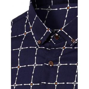 Turn-Down Collar Long Sleeve Checked Pattern Button-Down Shirt For Men -