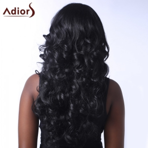 Outstanding Long Side Parting Fluffy Curly Black Synthetic Adiors Wig For Women - BLACK