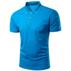 Slimming Turn-Down Collar Solid Color Short Sleeve Polo T-Shirt For Men