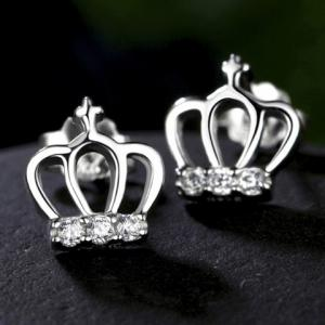 Pair of Rhinestone Alloy Crown Stud Earrings -