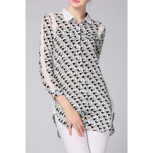 Shirt Collar Printed Single-Breasted Blouse -