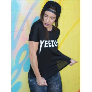 Casual Style Jewel Neck Short Sleeve Letter T-Shirt For Women - BLACK S