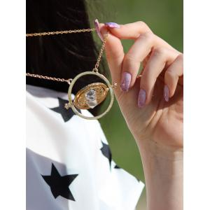 Retro Alloy Sand Clock Pendant Necklace -