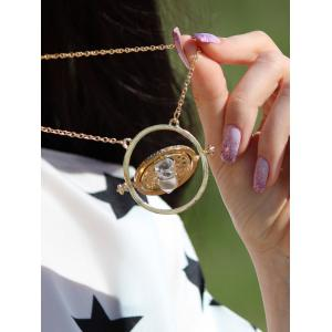 Retro Alloy Sand Clock Pendant Necklace - AS THE PICTURE