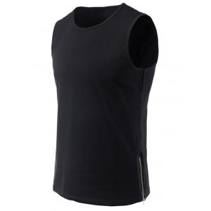 Round Neck Side Zipper Design Loose-Fitting Tank Top For Men - Black - S