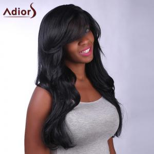 Charming Long Black Capless Fluffy Wave Side Bang Synthetic Adiors Wig For Women - BLACK