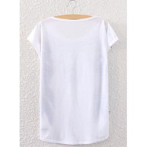 Stylish Short Sleeve Feather Necklace Print Women's T-Shirt -