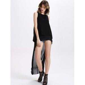 Chic Sleeveless Round Collar Pure Color Chiffon Women's Cut Out Dovetail Dress - BLACK XL