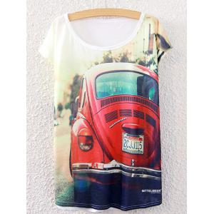Short Sleeve Car Printed Round Neck T-Shirt