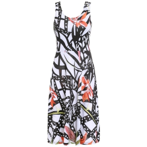 Chic Women's Scoop Neck Belted Print Tank Dress
