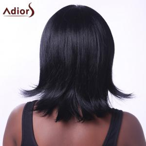 Noble Straight Inclined Bang Capless Black Medium Synthetic Adiors Wig For Women -