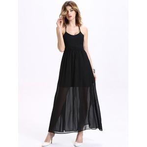 Maxi Halter Neck Criss Cross Backless Chiffon Dress - Black - 2xl
