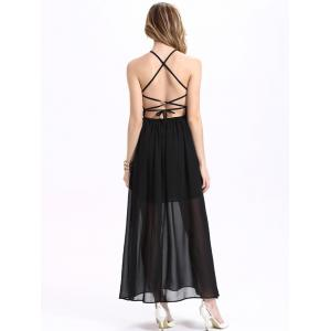Maxi Halter Neck Criss Cross Backless Chiffon Dress - BLACK M