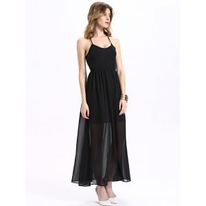 Maxi Halter Neck Criss Cross Backless Chiffon Dress -