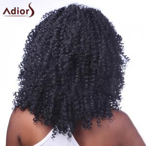 Trendy Black Medium Capless Shaggy Kinky Curly Synthetic Adiors Wig For Women -