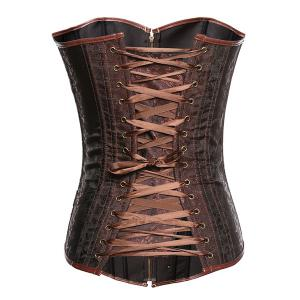 Chic Strapless Zipper Design Lace-Up Spliced Women's Corset -