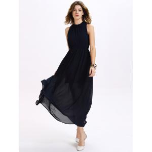 Trendy Ruffled Neck Sleeveless Backless Elastic Waist Women's Chiffon Maxi Dress - PURPLISH BLUE M