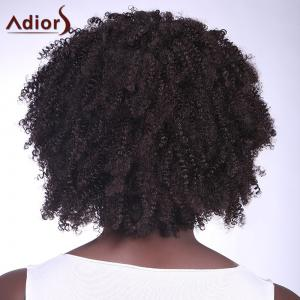 Fashionable Natural Black Short Capless Fluffy Afro Curly Synthetic Adiors Wig For Women -