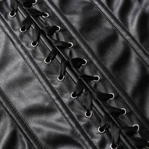Trendy Zipper Design Lace-Up Faux Leather Women's Corset -