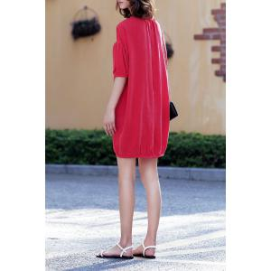 Lantern Sleeve Solid Color Dress -