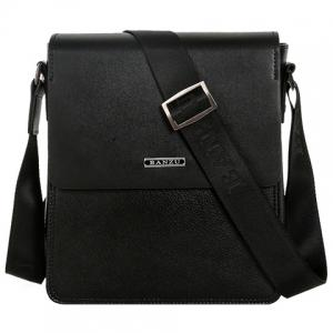 Concise Dark Color and Letter Design Messenger Bag For Men - Black