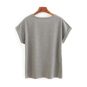 Casual Scoop Neck Roll Up Sleeve Letter Print T-Shirt For Women - GRAY S