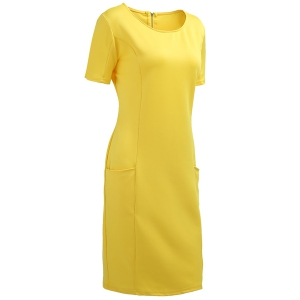 Chic Plus Size Round Collar Short Sleeve Solid Color Spliced Women's Dress -