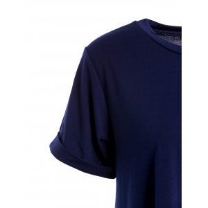 Casual Round Collar Cuffed Sleeve High Low Solid Color Dress For Women - CADETBLUE ONE SIZE(FIT SIZE XS TO M)