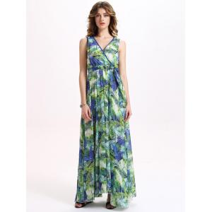 Sleeveless Chiffon Tropical Hawaiian Print Maxi Dress