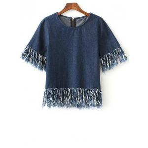 Stylish Fringed Zip Back Dark Denim T-Shirt - Blue - L