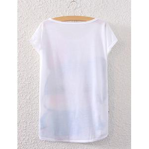 Chic Scoop Neck Rabbit Print Loose-Fitting Women's T-Shirt -