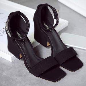 Suede Block Heel Ankle Strap Sandals -