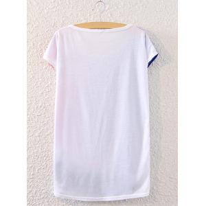 Chic Scoop Neck Tower Print Loose-Fitting Women's T-Shirt -