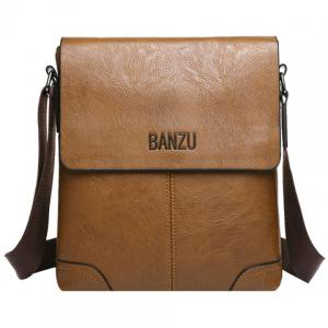 Retro Letter and PU Leather Design Messenger Bag For Men - Brown - 40